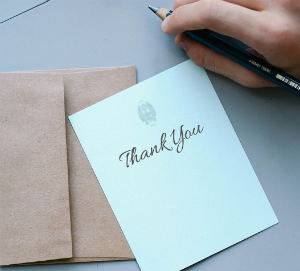 Thank you card to create surprise and delight